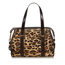 Authentic Celine Brown Leopard Print Pony Hair Shoulder Bag France - $396.44