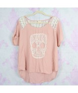 Daytrip Large L The Buckle Pink Lace Trim Skull Flowy Chiffon Top Shirt ... - $29.69