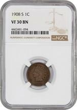 1908-S 1c NGC VF30 BN - Popular Key Date - Indian Cent - Popular Key Date - $145.50