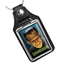 Frankenstein Monster Horror Movies Full Color Design Faux Leather Key Ring - $10.84