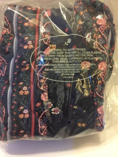 Avon Tote Country French Fashion 1988 Polyester Cotton Blue Pink Flowers Quilted