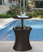 Patio Bar Table Outdoor Cooler By Pool Deck Rattan Style Ice Party Cool ... - $84.96