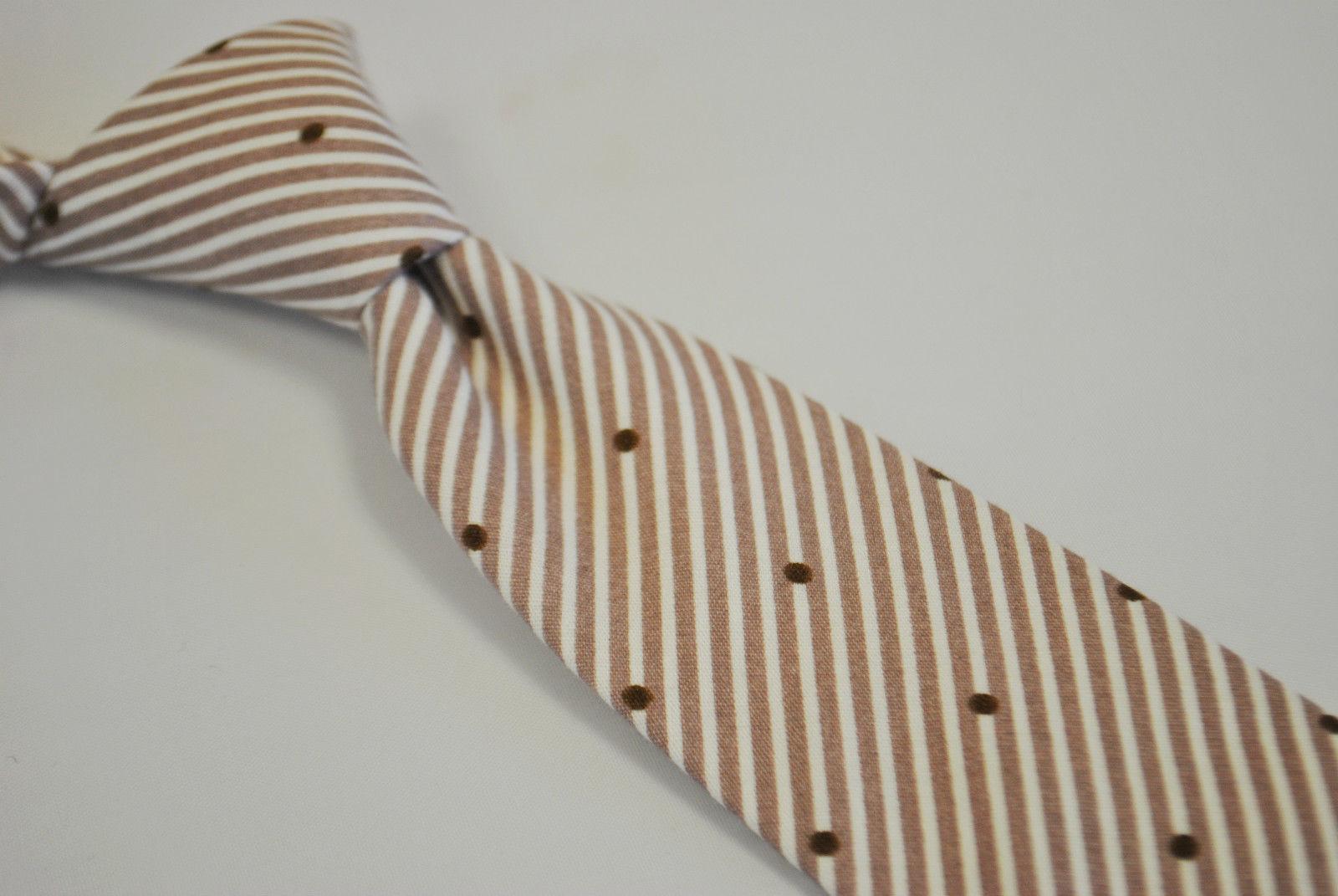 Frederick Thomas Marrone chiaro cravatta con punti & motivo a Righe 100% cotone
