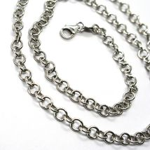 """18K WHITE GOLD CHAIN 23.60"""", ROUND CIRCLE ROLO LINK, DIAMETER 4 MM MADE ITALY image 3"""