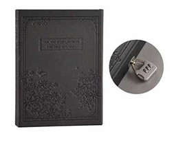 Vintage Hard Cover Notebook Journal Daily with Lock and Gift Box Black - $22.83