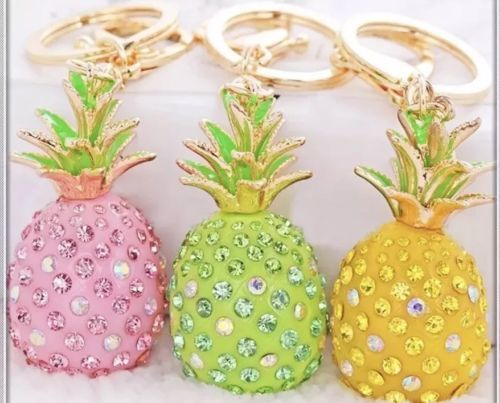 Glitzy Glam Pineapple PurseCharm KeyChain Gold New With Tags