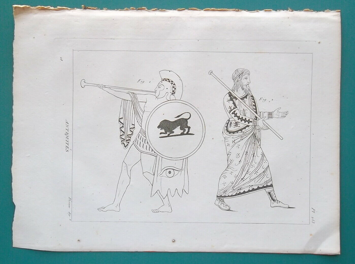 Primary image for ANTIQUITIES Greek Army Trumpeteer & King Agamemnon Costume - 1804 Antique Print