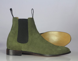 Handmade Men's Green Suede High Ankle Chelsea Boots image 3