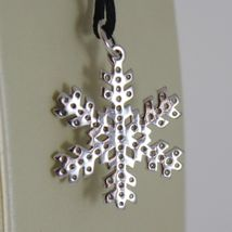 18K WHITE GOLD SNOWFLAKE PENDANT 25 MM, 0.98 INCHES, ZIRCONIA, MADE IN ITALY image 4