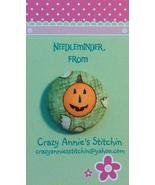 Pumpkin Needleminder fhalloween fabric cross stitch needle accessory - $7.00