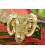 Ram Mountain Goat Aries Scarf Ring Loop Gold Tone Figural Animal Head - $18.95