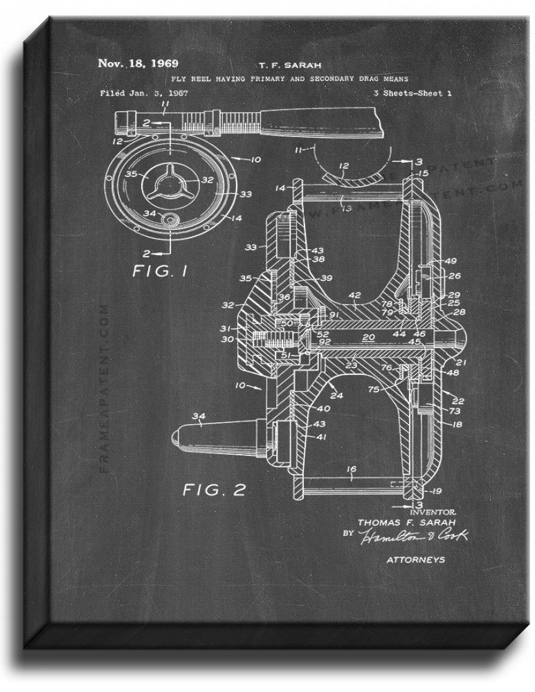 Primary image for Fly Fishing Reel Patent Print Chalkboard on Canvas