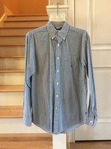 Nautica Heritage Shirt Mens S Long Sleeve Button Front Blue Striped Sear... - $12.99