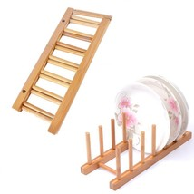 Kitchen Tool Storage Rack Bamboo Wood Dish Holder Plate Organizer Cups S... - $17.99