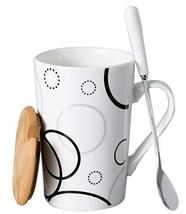 Creative Simple High-capacity Ceramic Cup, Size Circles And Bamboo Cover - $21.26