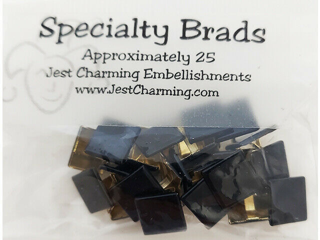 Just Charming Specialty Brads Black Squares, 25 Count