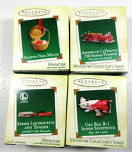 Hallmark Lionel Mini Ornament Lot; Locomotive, Plane, Mouse, Fire Engine - $29.64