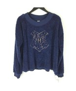 Harry Potter sz M Medium Blue Hogwarts Crest Fleece Pajama Top 4 Houses New - $14.84