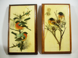 Pair MADS STAGE BIRD Print Plaques Wood Rustic Vintage Denmark Wall Hanging - $24.74