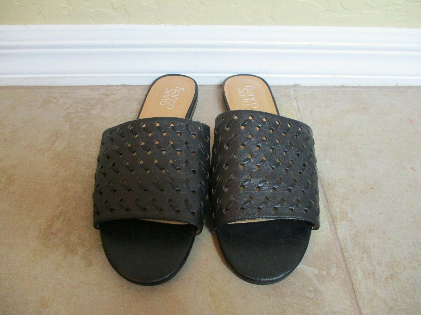 Franco Sarta Black Perforated Leather Mules For Women Size 9 Eur 39.5 image 2