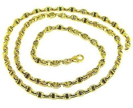 """18K YELLOW GOLD CHAIN SAILOR'S NAUTICAL NAVY MARINER BIG OVAL 4mm LINK, 20"""" image 1"""