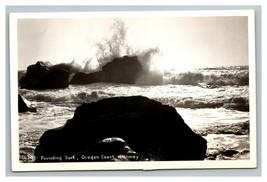 Vintage 1940's RPPC Postcard Pounding Surf Oregon Coast Highway Oregon - $25.71
