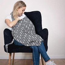 Cotton Nursing Cover - Large Breastfeeding Cover with Built-in Burp Cloth & Pock image 1