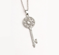 Jewelry Silver Necklace Crystal Key Pendant Necklaces Women - $9.99