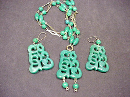 1960's 70's Vintage Faux JADE Necklace Earrings Carved Look Light Weight... - $28.71