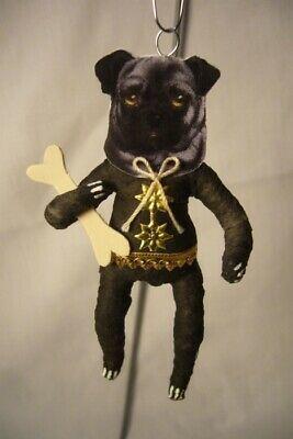Vintage Inspired Spun Cotton Pug Dog Ornament