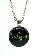"""Vegan Glass Cabochon Pendant 20"""" Necklace Vegan Proud Statement Pendant ... - $5.34"""