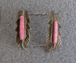 Sterling Silver Pink Glass or Opal Navajo Curved Feather Earrings Signed... - $24.99