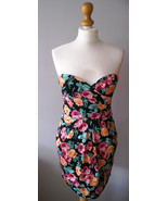 New Look Strapless Coctail Party Tulip dress roses print - $35.00