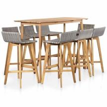vidaXL Solid Acacia Wood Outdoor Bar Set 9 Pieces Poly Rattan Brown And ... - $472.99