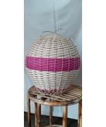 Rattan Handwoven Wicker Pink Air Balloon Shape 2 pcs set Hanging Pendant... - $214.12