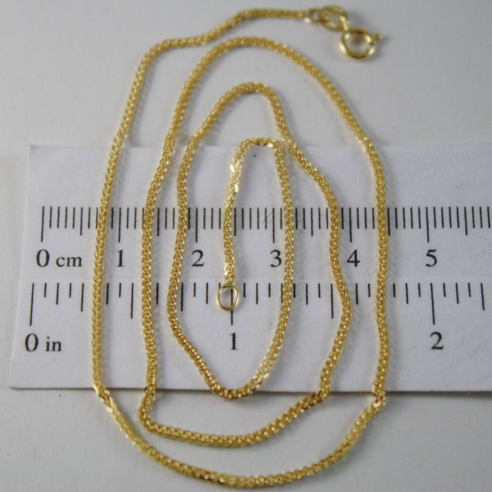 SOLID 18K YELLOW GOLD CHAIN NECKLACE WITH 1MM EAR MESH 23.62 INCH, MADE IN ITALY