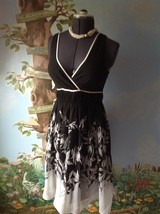 Metro 22 Women Dress Black and White Floral Sleeveless Dress Size Small  - $23.76
