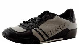 Diesel Men's Harold Solar Premium Leather Fashion Sneaker Shoes Paloma Black