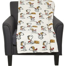 P EAN Uts Twin Or FULL/QUEEN Plush Blanket Snoopy & Woodstock Red Baron - $33.85+