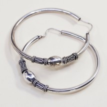 "2"", Vintage Sterling Silver Handmade Earrings, Bali 925 Silver Huge Hoops - $40.08"