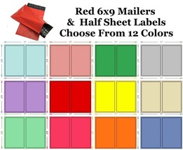 6x9 ( Red ) Poly Mailers + Colored Half Sheet Self Adhesive Shipping Labels - $2.99+