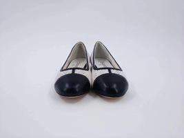 100% Authentic Chanel White Black Ballet Flats Slip On CC Logo Shoes 37C image 2