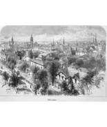MILWAUKEE in Wisconsin View - 1883 German Print - $21.60