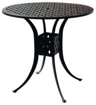 Bar height patio set round table 5pc Palm tree cast aluminum furniture barstools image 3