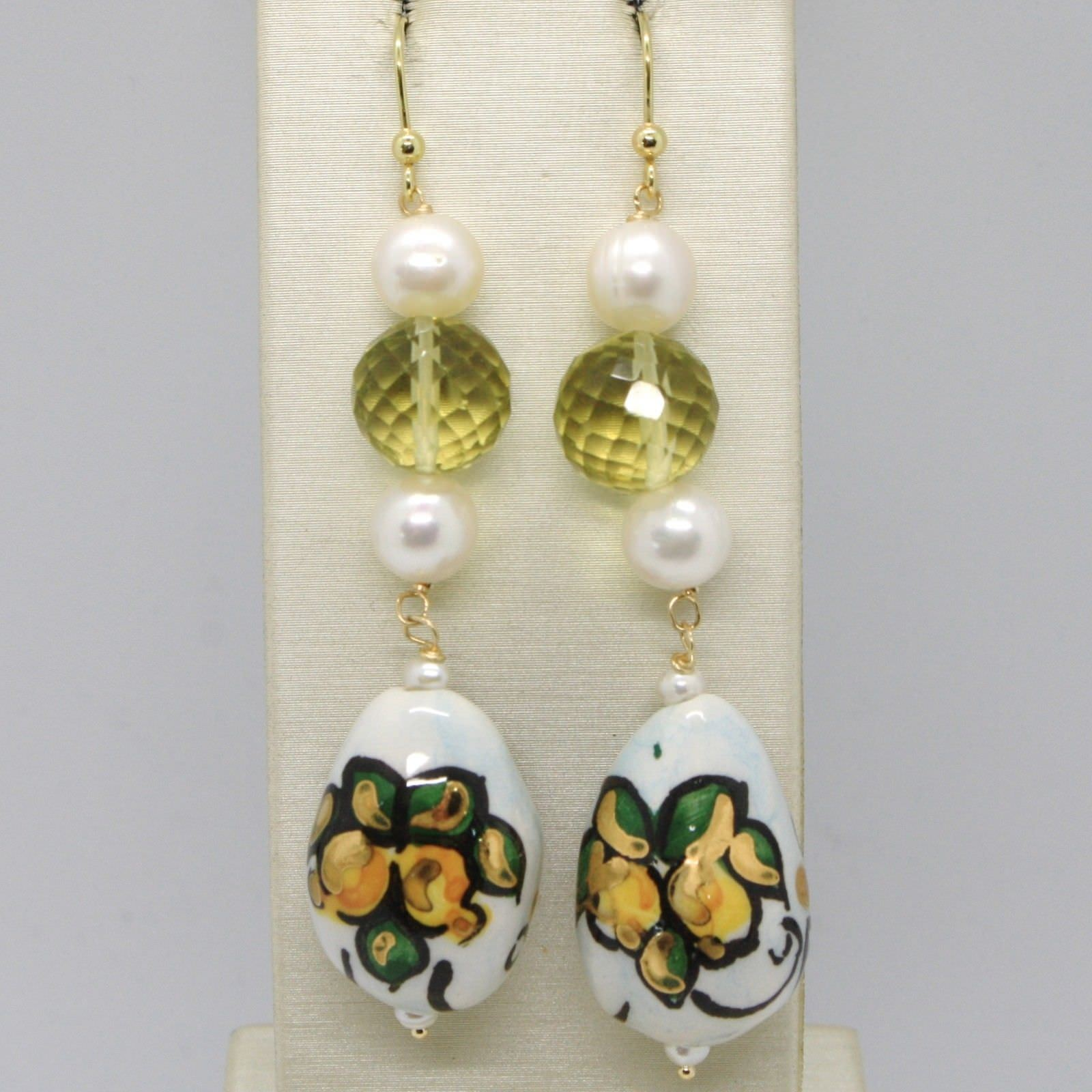 YELLOW GOLD EARRINGS 750 18K WITH PEARLS AND DROP HAND-PAINTED MADE IN ITALY