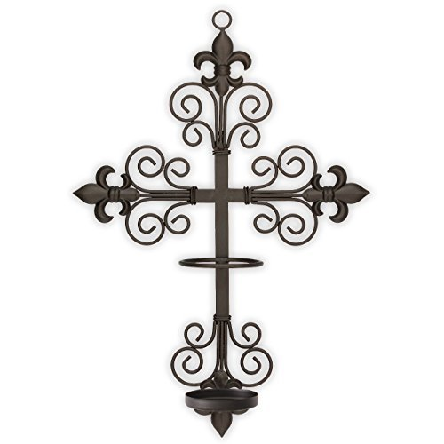 Y wall sconce with safety ring to hold flame or flameless led saint candle securely on the wall.