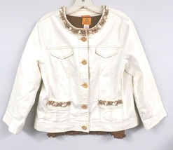 Ruby Rd. Jacket Embellished Ivory Cotton Spandex + Smocked Brown Shirt M - $45.60