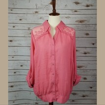 New MINE TOO sz 3XL coral lace shoulder collar button down roll up sleev... - $12.87