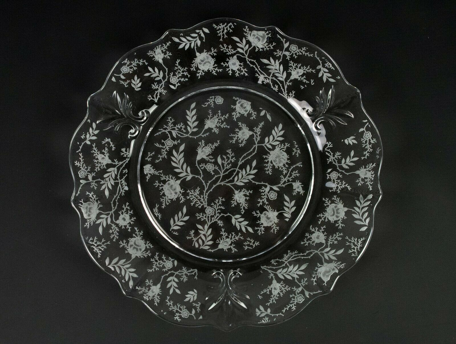 Primary image for Fostoria Chintz Dinner Plate, Vintage Elegant Etched Baroque Shape 9 1/2""