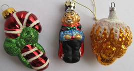 Blown glass Christmas ornaments Lot of 3 Candy cane Fruit - $29.92